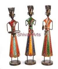 Metal Handcrafted Colorful Long Tribal Musicians Showpiece Figurines Home Decor - Set Of 3