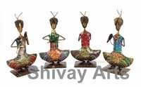 Metal Handcrafted Colorful Sitting Rajasthani Musicians - Set Of 4