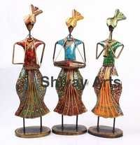 Metal Handcrafted Colorful Turban Musicians Showpiece/Figurines - Set Of 3