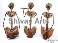 Metal Handcrafted Colorful Sitting Rajasthani Musicians Showpiece Figurines Home Decor - Set Of 3
