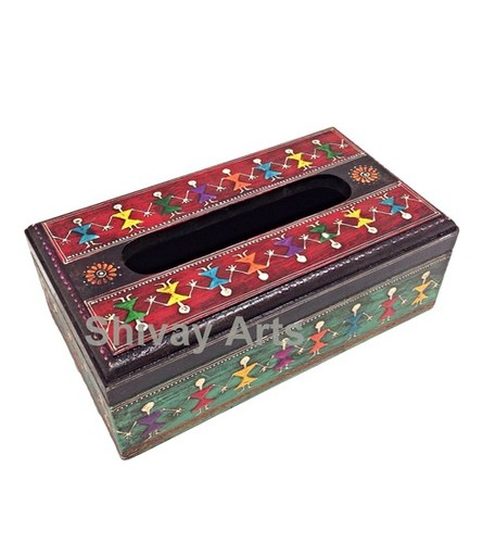 Wooden Fine Embossed Warli Tissue Box Tissue Holder Tissue Dispenser