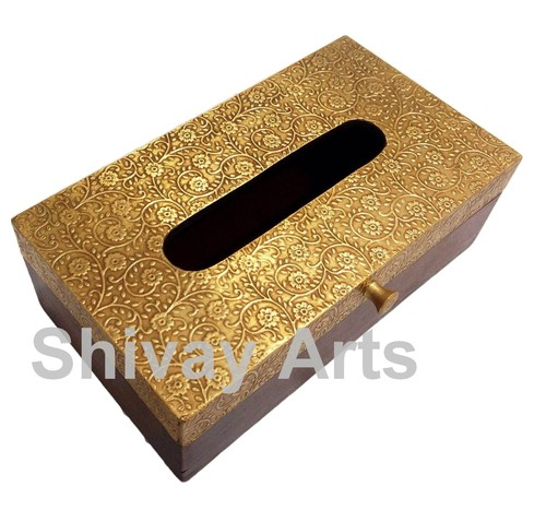 Wooden & Brass Handcrafted Tissue Box / Holder / Dispenser