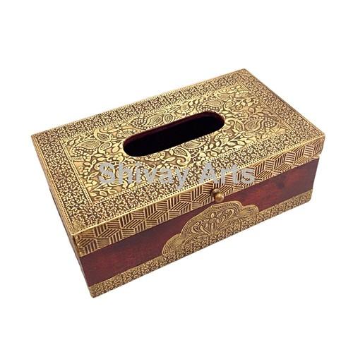 Wooden & Brass Handcrafted Tissue Box Tissue Holder Tissue Dispenser