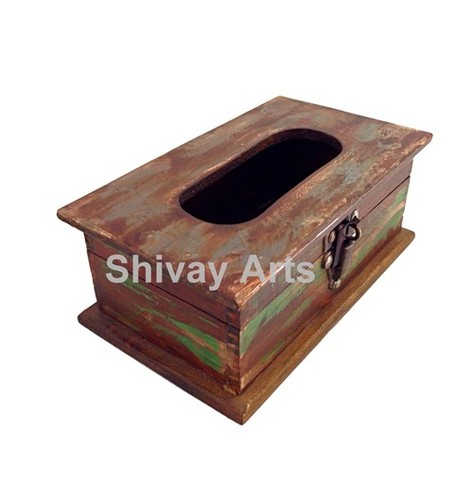 Wooden Distressed Rustic Tissue Box Tissue Holder Tissue Dispenser