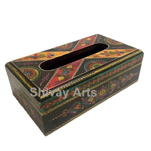 Wooden Handpainted Fine Emboss Tissue Box/Holder