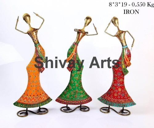 Metal Handcrafted Lady Dancer Showpiece Figurines Home Decor- Set Of 3