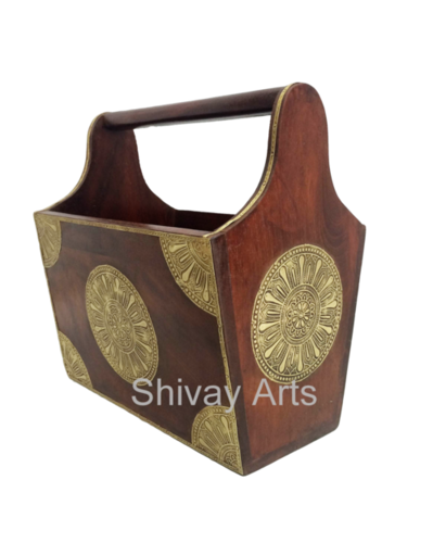 Wooden & Brass Magazine Holder Book Holder Newspaper Holder