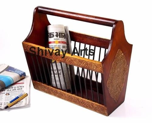Wooden & Brass Magazine Holder / Newspaper Holder / Book Holder