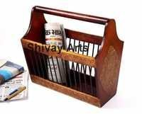Wooden & Brass Magazine Holder / Newspaper Holder / Book Holder