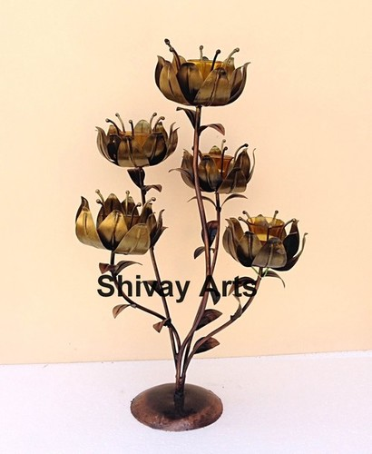 Metal Iron Handcrafted Flower 5 Tealight Candle Holder