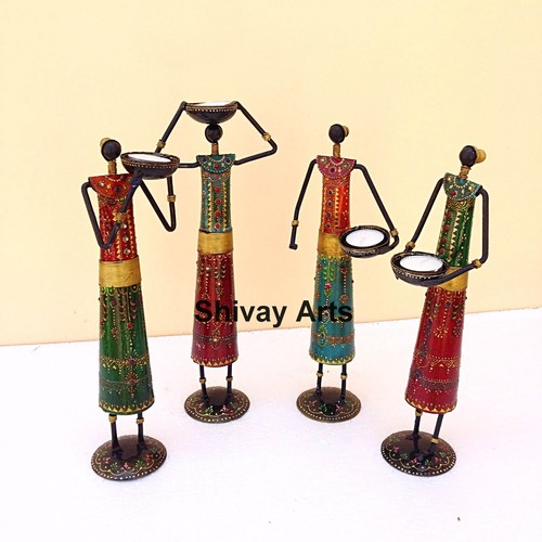 Metal Iron Multicolor Tribal Lady Tealight Candle Holder - Set Of 4