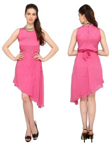 Bedazzle Women's High Low Pink Dress
