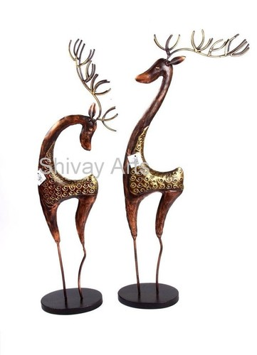 Metal Iron Handcrafted Deer Figurine Showpiece - Set Of 2
