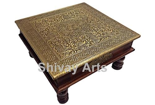 Wooden & Brass Beautifully Handcrafted Chowki / Bajot