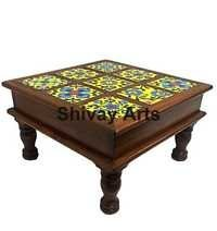 Wooden And Ceramic Multicolored Chowki Bajot