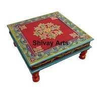Wooden Handcrafted Beautifully Embossed Multicolored Chowki Bajot