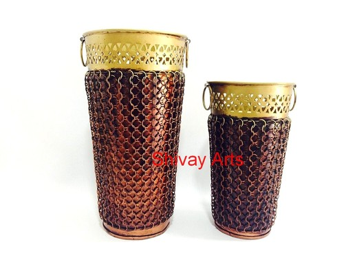 Copper Colored Metal Iron Jali Vase - Set of 2