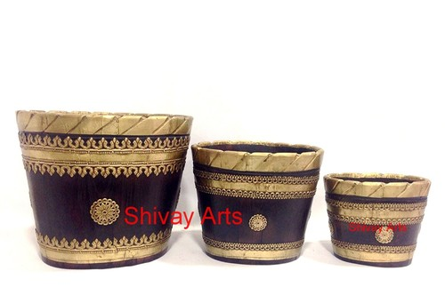 Wooden & Brass Handcrafted Big, Medium And Small Vase/Planter - Set Of 3