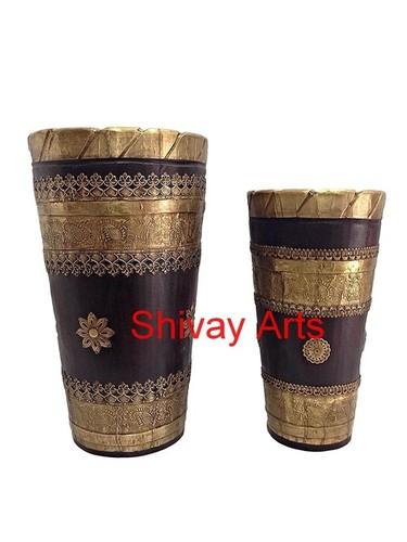 Wooden & Brass Handcrafted Long Vase Planter - Set Of 2