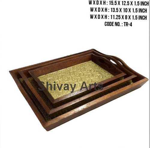 Wooden & Brass Serving / Decorative Tray - Set Of 3