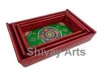 Wooden Handcrafted Embossed Serving / Decorative Tray - Set Of 3