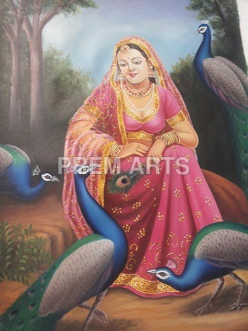 Oil Painting of Lady with Peacock on Canvas
