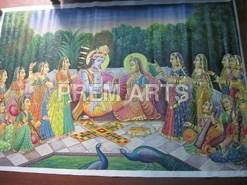 Oil  Painting Of Radha Krishna Medium: Water Color