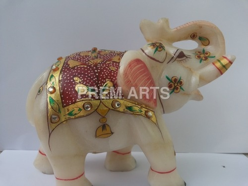 Marble Trunk Up Elephant