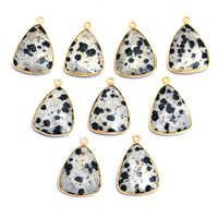 Sterling Silver Gold Plated Dalmatian Jasper Triangle Pendant