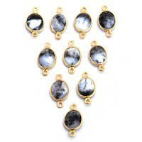 Dendritic Opal Gold Plated Oval Shape Connector
