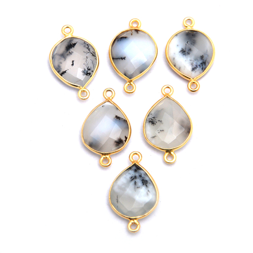 Gold Plated Dendritic Opal Pear Shape Bezel Connector