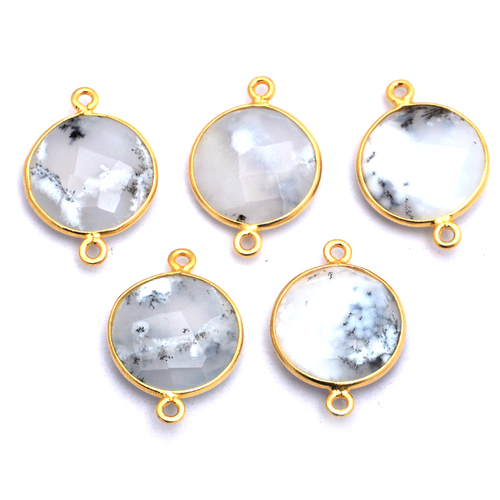 Round Shape Dendritic Opal Sterling Silver Connector