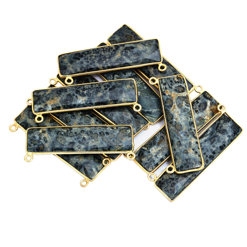 Sterling Silver Kambaba Jasper Gold Plated Pendant