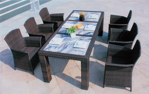 Full Knit Outdoor Wicker Dining Table Set