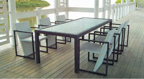 Fancy Style Outdoor Wicker Dining Table Set