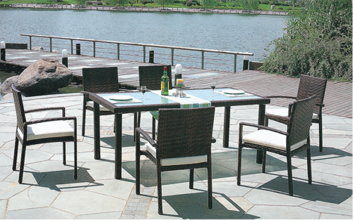 Plain Style Outdoor Wicker Dining Table Set