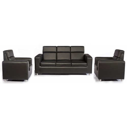 3+1+1 Black Leather Sofa