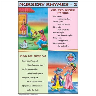 One Two Buckle My Shoe, Pussy Cat Pussy Cat Nursery Rhymes Chart