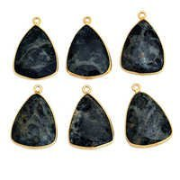 Gold Plated Kambaba Jasper Triangle Pendant