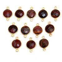Sterling Silver Mookaite Jasper Gold Plated Round Shape Connector