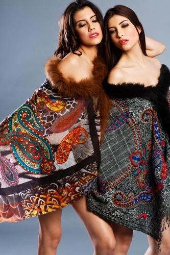Pure Wool Shawls With Digital Print & Fur Trims