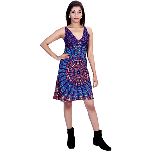 Blue Rayon Mandala Dress