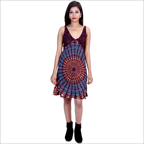 Brown Rayon Mandala Dress