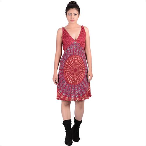 Maroon Rayon Mandala Dress