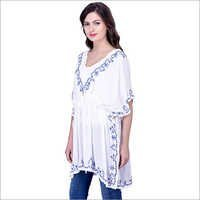 White Rayon Embroidery Kaftan