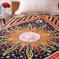 Yellow Cotton Sanganeri Sun Print  Bedsheets  Bed Covers Hippie Bohemian Tapestry Wall Hanging