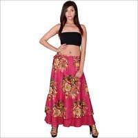 Pink Cotton Umbrella Wrap Around Skirts