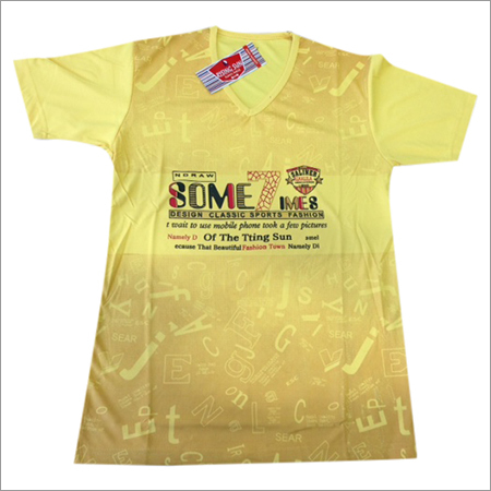 V Neck Yellow T-Shirt