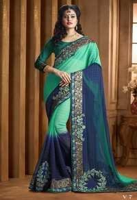 Green Embroidery Saree