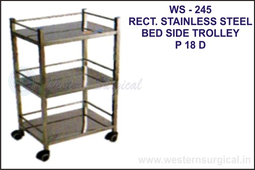 Rect. Stainless Steel Bed Side Trolley